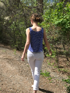 Blue pinwheel tank (Hand-patterned)