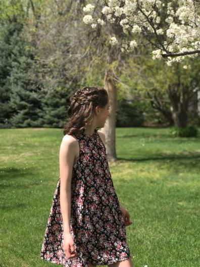 Hand Patterend Rayon Challis floral dress
